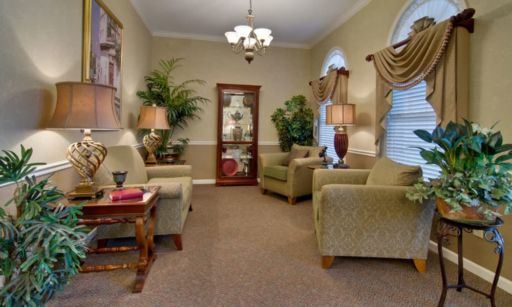 Quiet reading lounge for assisted living residents at Park View Meadows in Murfreesboro, Tennessee