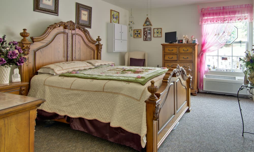 Large bedroom for assisted living residents at Willow Brooke in Union, Missouri