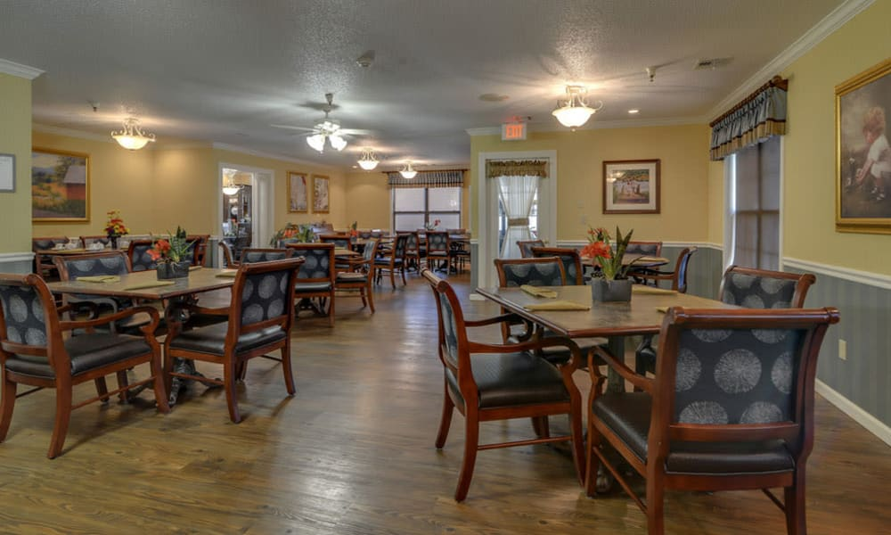 Dining area at the center of Carrington Place in Pittsburg, Kansas