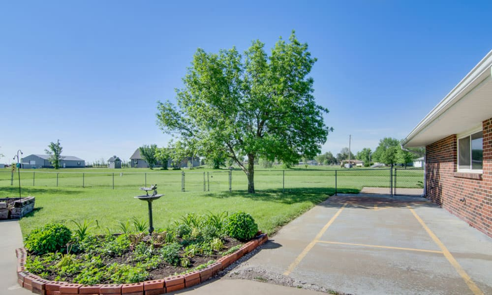 Backyard landscaping at Osage Nursing Center in Osage City, KS