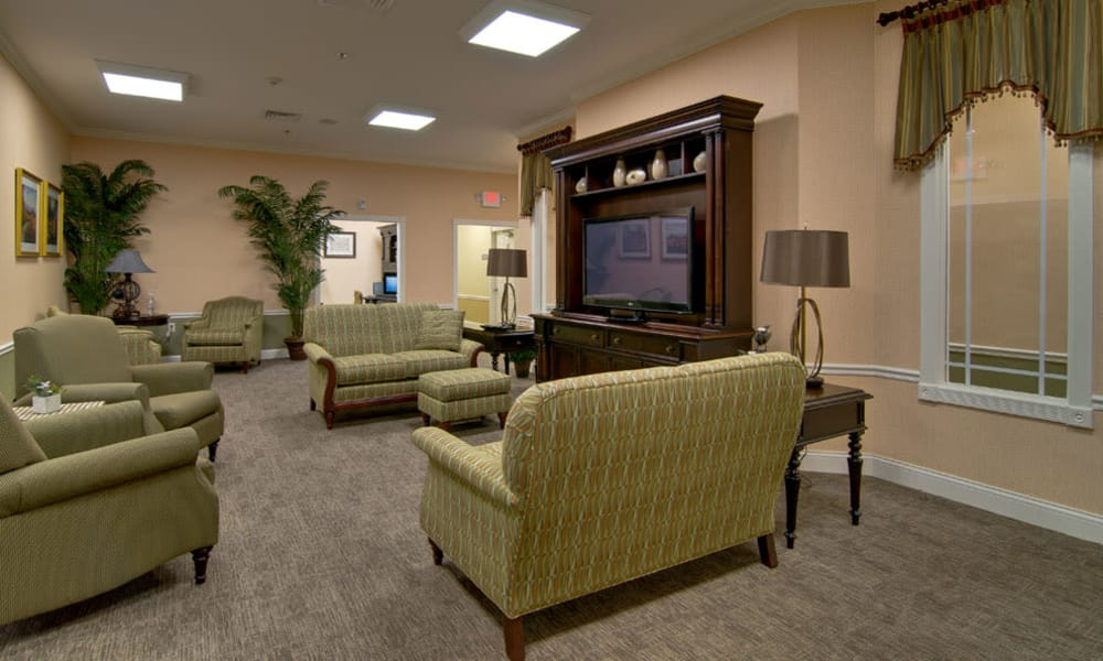 TV area for assisted living residents at Parkway Gardens Senior Living in Fairview Heights, Illinois