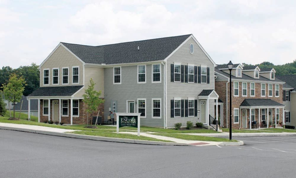 Street corner view of The Encore at Laurel Ridge