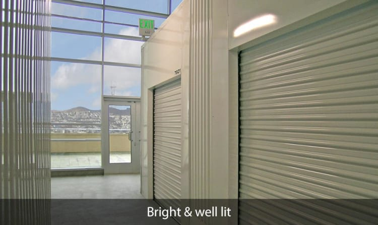 Naturally lit hallway of units at SOMA Self-Storage in San Francisco, California