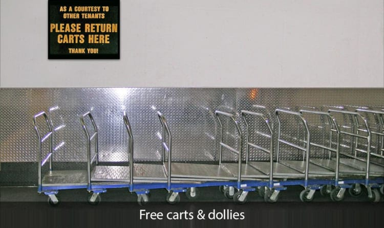Free carts and dollies available at SOMA Self-Storage in San Francisco, California