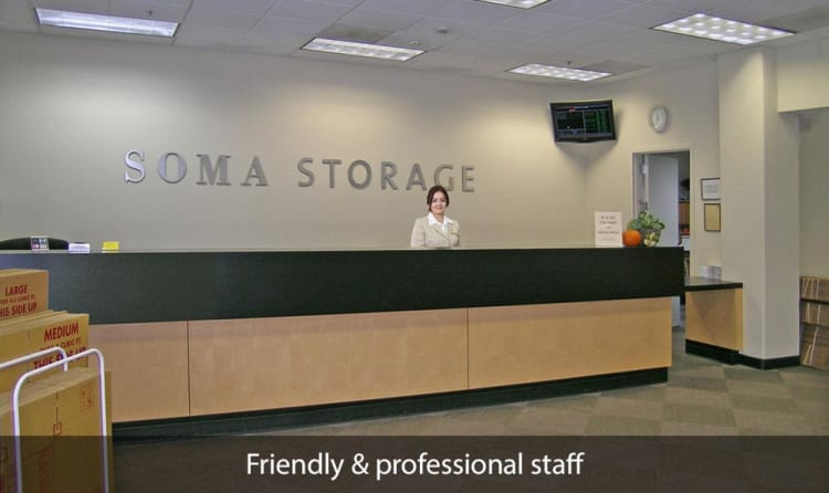 Front desk at SOMA Self-Storage in San Francisco, California