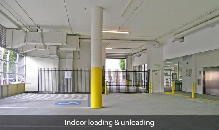 Indoor loading and unloading area at SOMA Self-Storage in San Francisco, California