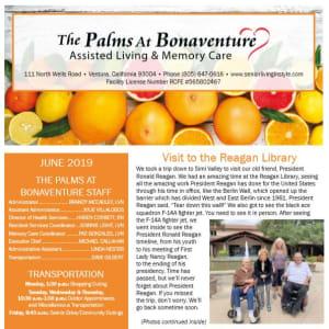 June Palms at Bonaventure Assisted Living Newsletter