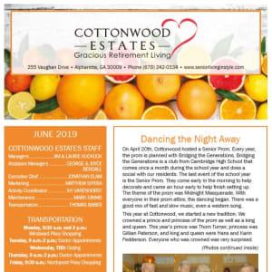 June Cottonwood Estates Gracious Retirement Living Newsletter