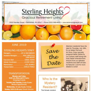 June Sterling Heights Gracious Retirement Living Newsletter