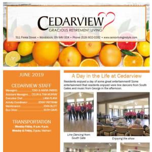 June Cedarview Gracious Retirement Living Newsletter