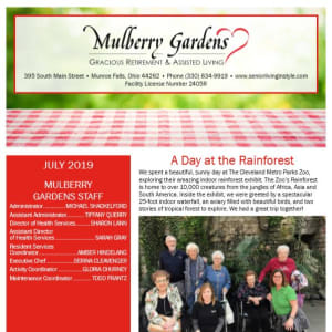 July Mulberry Gardens Assisted Living Newsletter