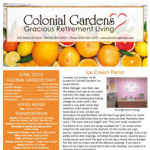 June Colonial Gardens Gracious Retirement Living Newsletter