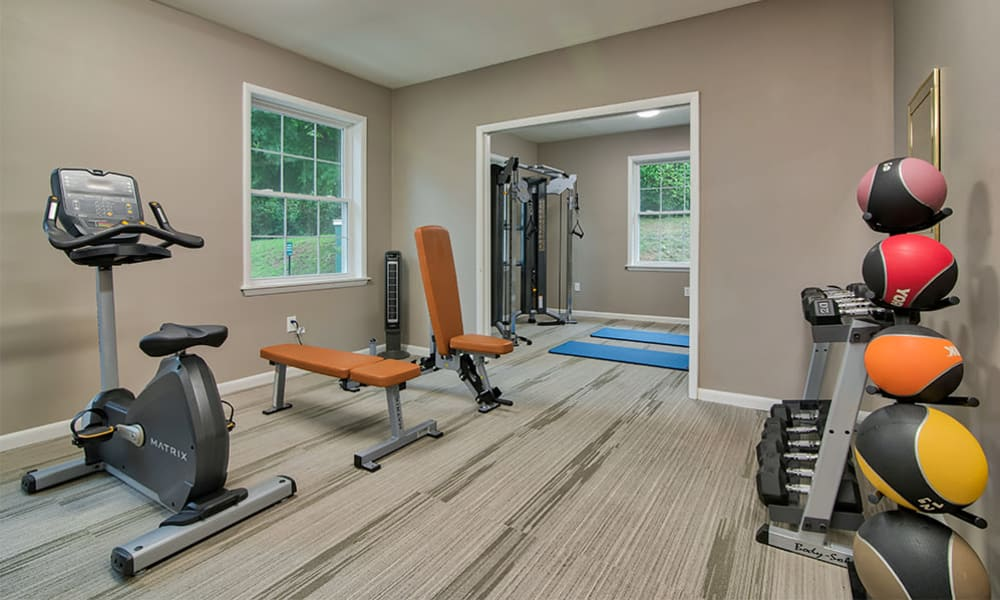 Renovated fitness center at Eagle's Crest Apartments in Harrisburg, Pennsylvania