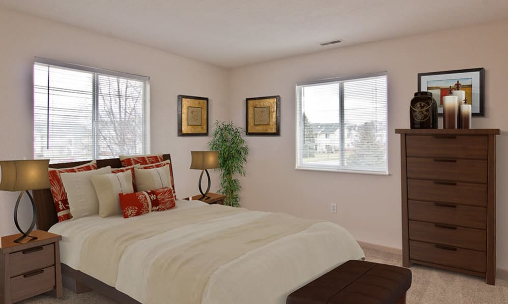 Spacious and beautiful bedroom at Steeplechase Apartments & Townhomes in Toledo, Ohio