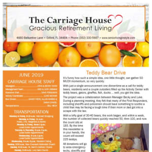 June The Carriage House Gracious Retirement Living Newsletter