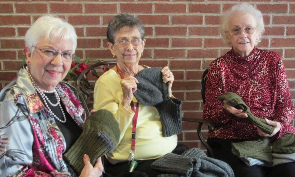 Residents at knitting workshop at Arbour Square of Harleysville in Harleysville, Pennsylvania