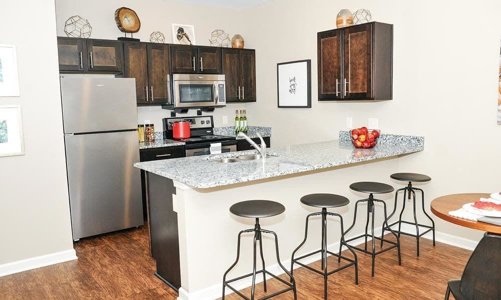 Full-equipped kitchen at Canal Crossing home in Camillus, New York