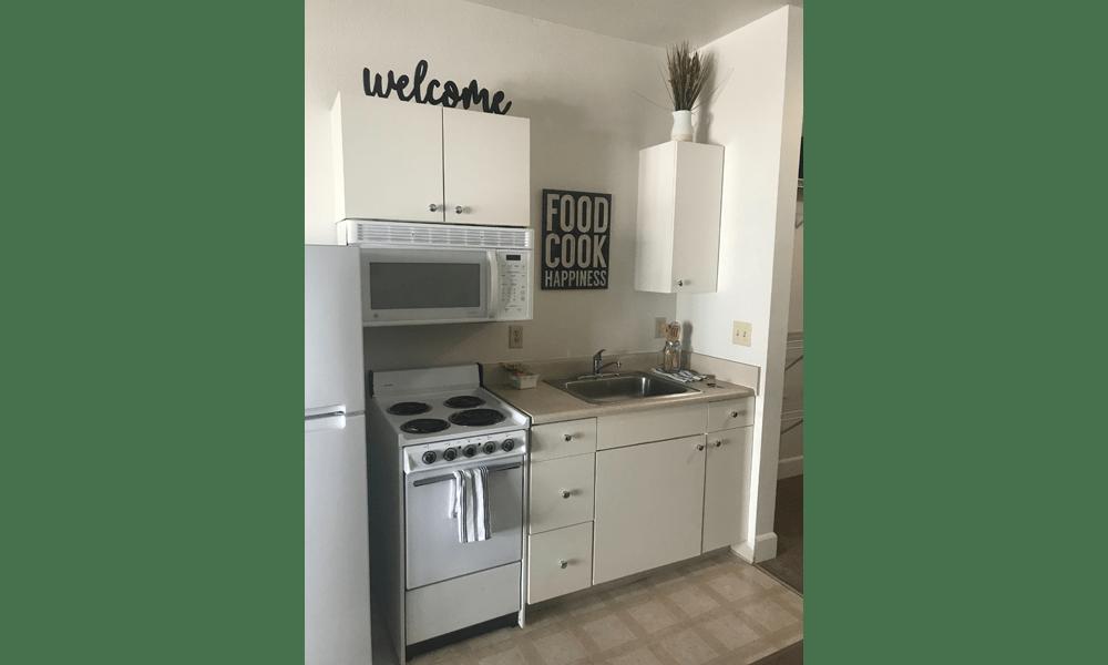 Spacious kitchens at Courtyard Centre Apartments in Reno, Nevada.