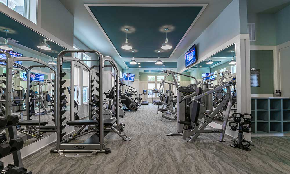 Room for everyone in the onsite fitness center at Alaqua in Jacksonville, Florida