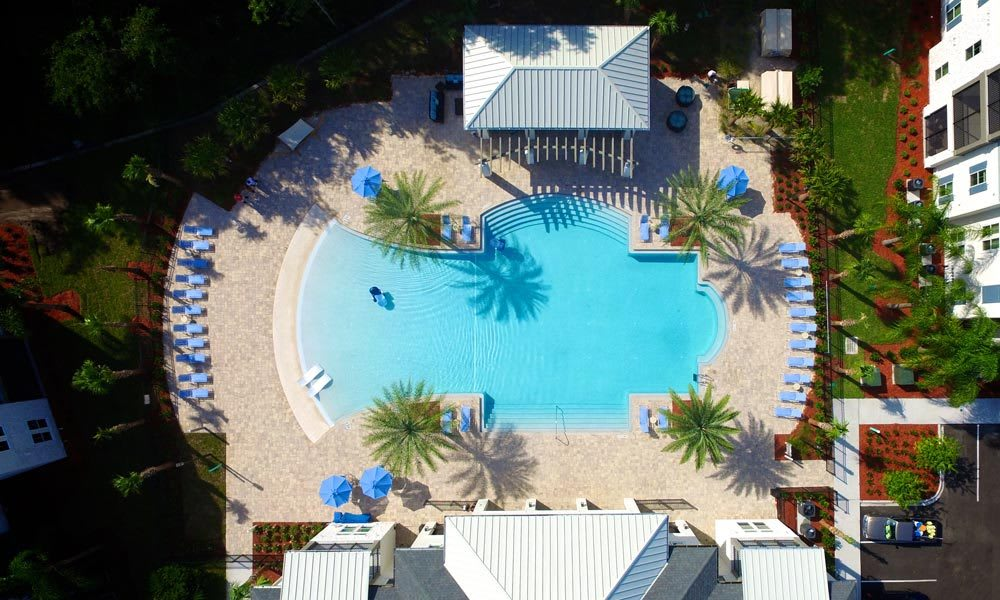Aerial view of the swimming pool at Alaqua in Jacksonville, Florida