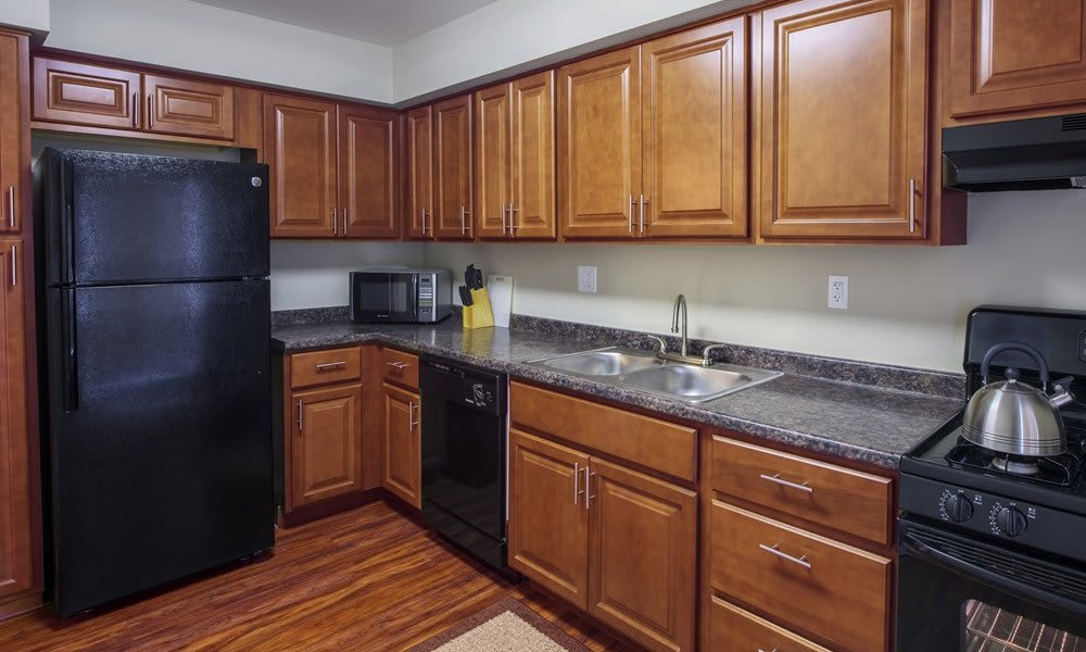 Full-equipped kitchen at Nineteen North Apartments in Pittsburgh
