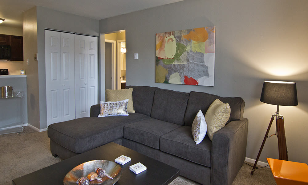 Modern living room at The Flats at Gladstone in Glendale Heights, Illinois