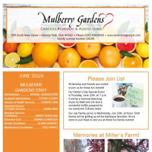 June Mulberry Gardens Assisted Living Newsletter