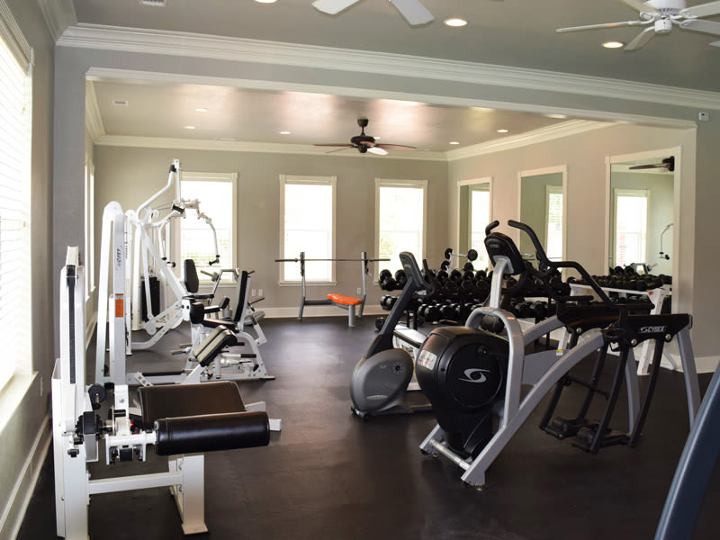 A fully equipped gym at Lexington Park Apartment Homes