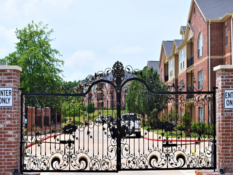 Fenced entrance at Lexington Park Apartment Homes