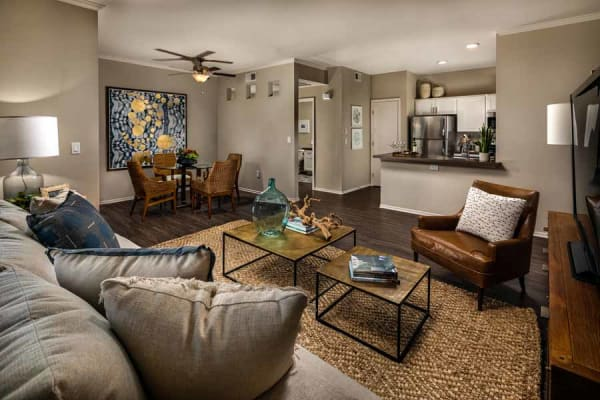 Seating in the living room at Castlerock at Sycamore Highlands in Riverside, California