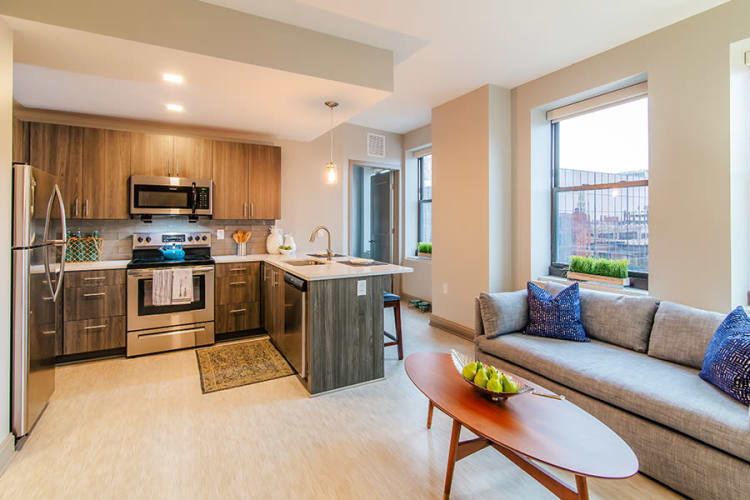 Our apartments in Rochester, New York showcase a beautiful kitchen