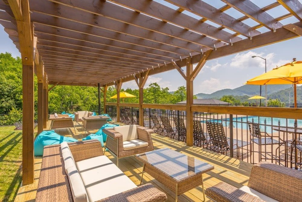 Beautiful pergola at Mountaineer Village in Boone, North Carolina