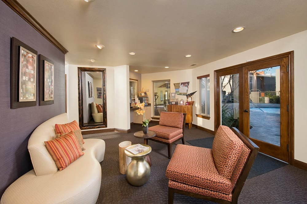 Modern clubhouse interior at La Valencia Apartment Homes in Campbell, California