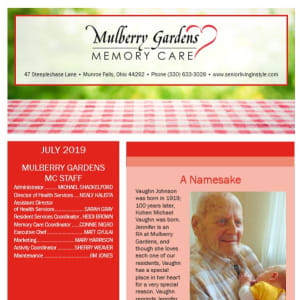 July Mulberry Gardens Memory Care newsletter