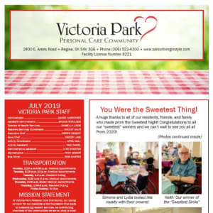 July Victoria Park Personal Care Home Newsletter