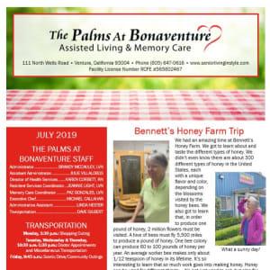 July Palms at Bonaventure Assisted Living Newsletter