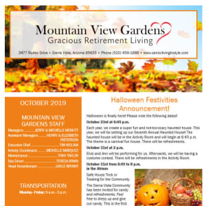 October Mountain View Gardens Newsletter