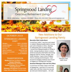 October Springwood Landing Gracious Retirement Living Newsletter