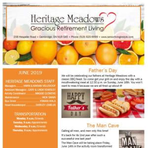 June Heritage Meadows Gracious Retirement Living Newsletter