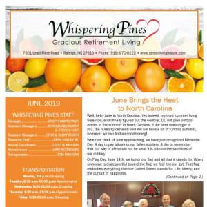 June Whispering Pines Gracious Retirement Living Newsletter