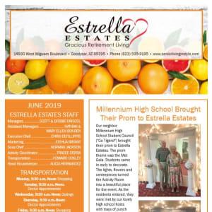 June Estrella Estates Gracious Retirement Living Newsletter