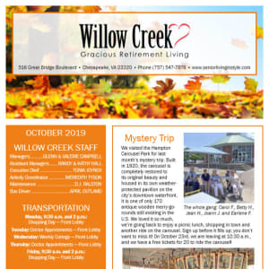 October Willow Creek Gracious Retirement Living Newsletter