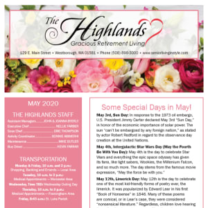 May The Highlands Gracious Retirement Living newsletter