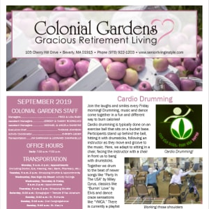 September Colonial Gardens Gracious Retirement Living Newsletter