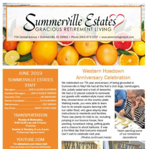 June Summerville Estates Gracious Retirement Living Newsletter