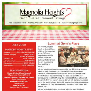 July Magnolia Heights Gracious Retirement Living Newsletter