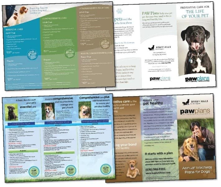 Paw plans brochure at Kitsap Veterinary Hospital in Port Orchard, Washington