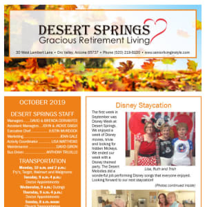 OctoberDesert Springs Gracious Retirement Living Newsletter