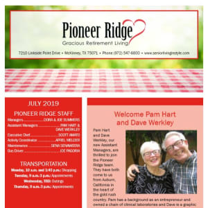 July Pioneer Ridge Gracious Retirement Living Newsletter