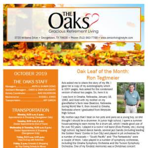 October The Oaks Gracious Retirement Living Newsletter